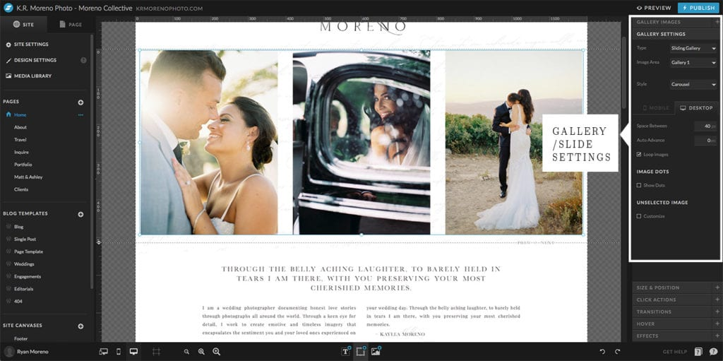 Showit and WordPress - Reordering Images - Moreno Collective