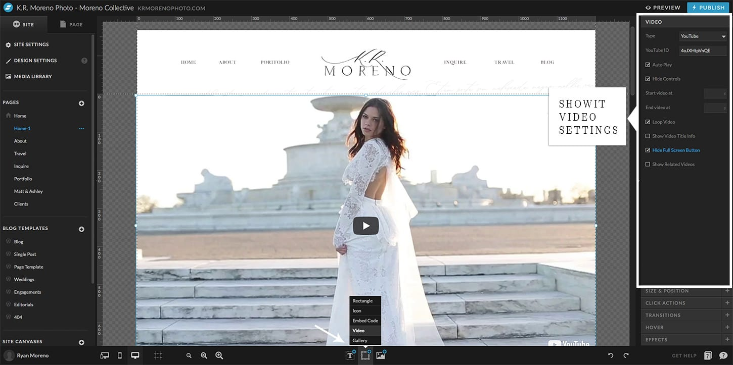 Showit and WordPress Video Embed - Moreno Collective