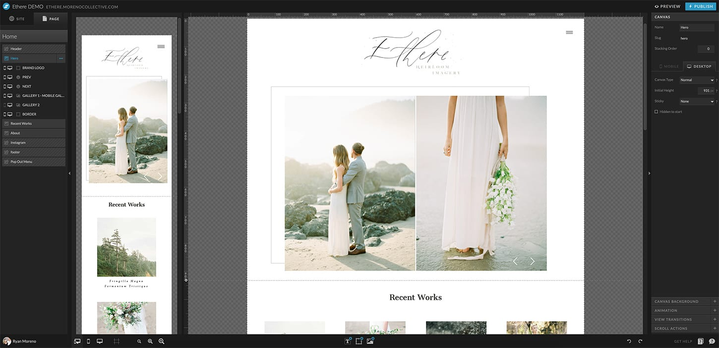 Showit websites and WordPress for photographers - Moreno Collective