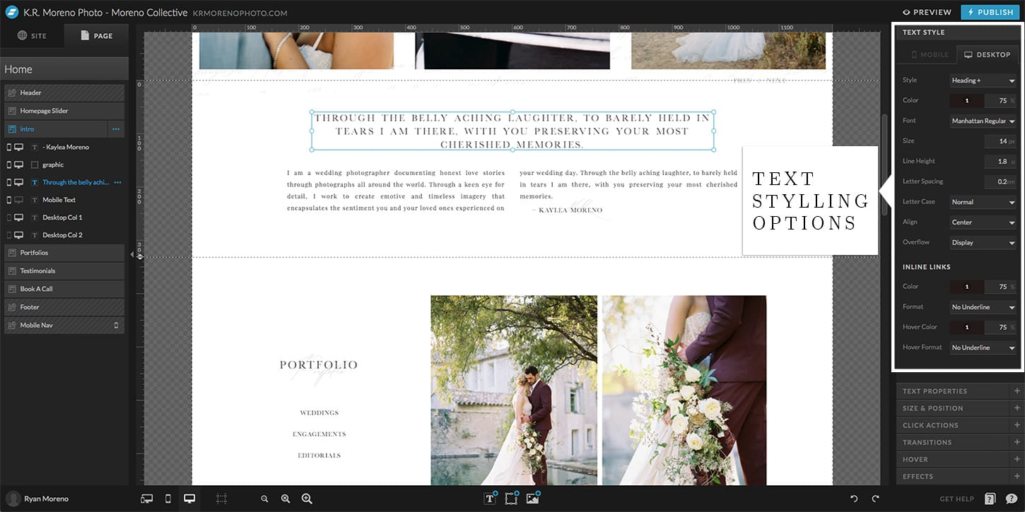Styling text in Showit and WordPress - Moreno Collective