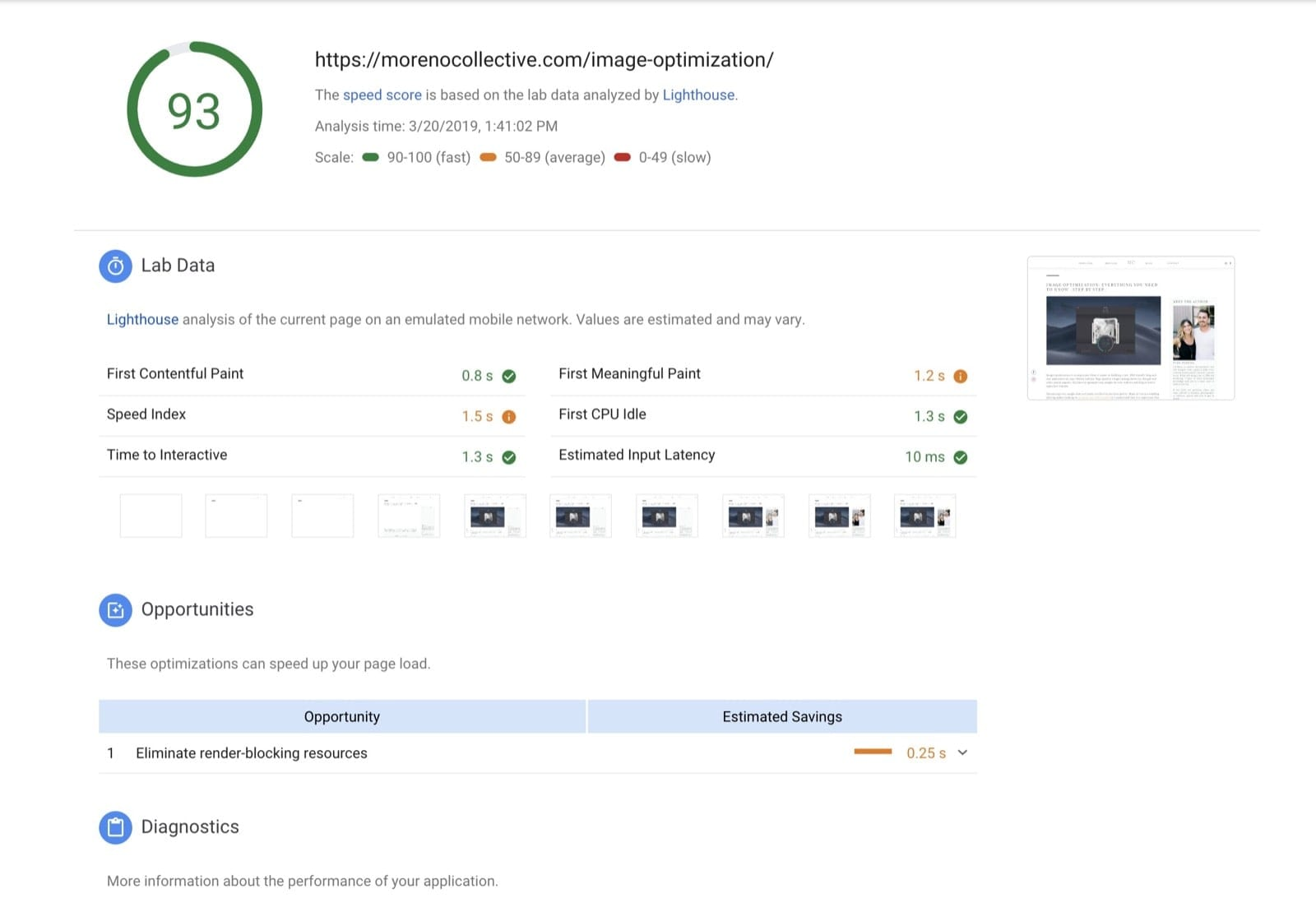 Google PageSpeed Insights fast webpage report - Moreno Collective