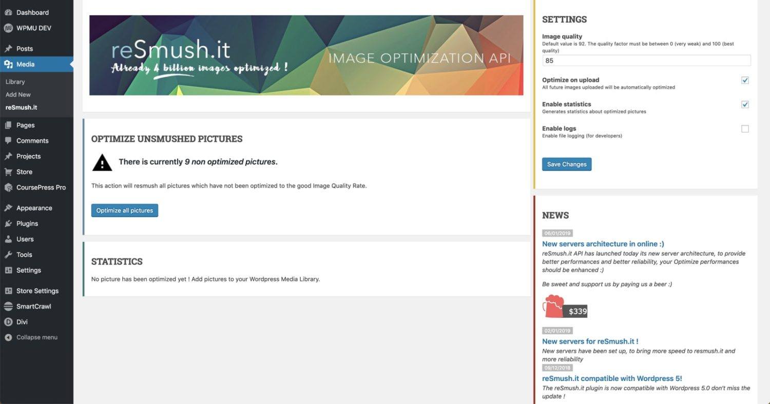 Using reSumsh.it plugin for Image Optimization