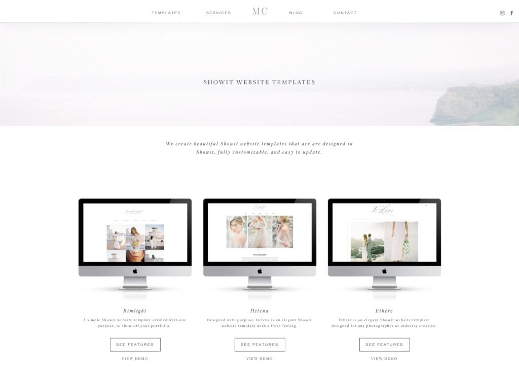 Showit Templates by Moreno Collective