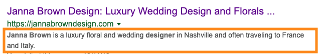 example of SEO titles and meta descriptions - Showit SEO - Moreno collective