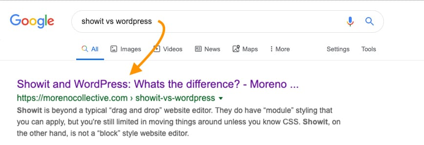 Showit SEO titles and meta descriptions in Google - Moreno Collective