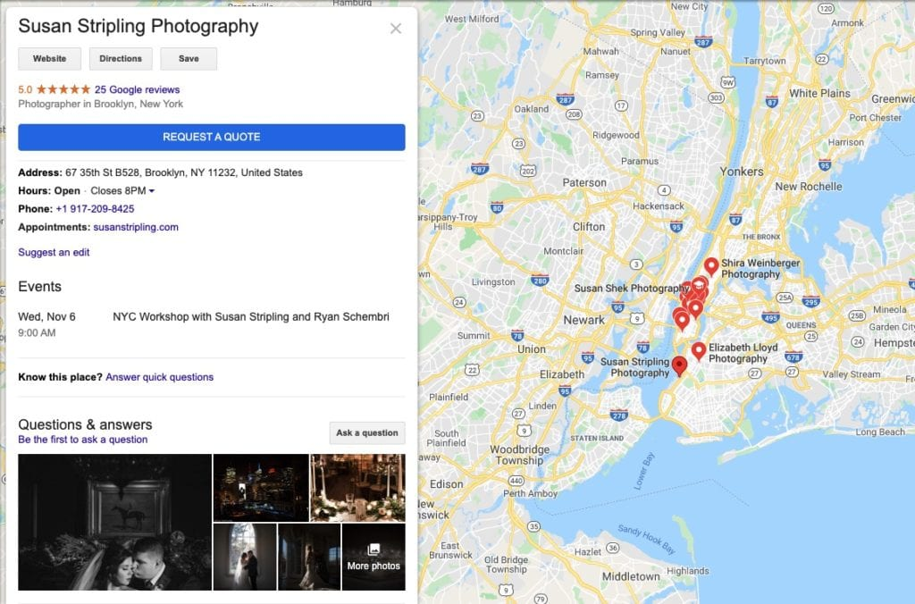 Local SEO for wedding photographers search result - Moreno Collective