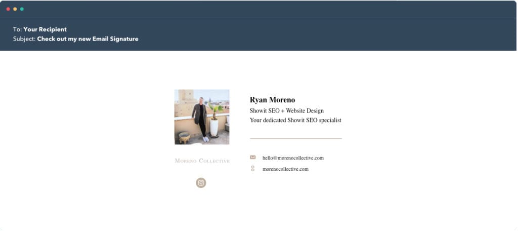 Hubspot Email Signature Example 1 - Moreno Collective