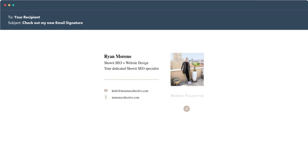 Hubspot Email Signature Example 4 - Moreno Collective