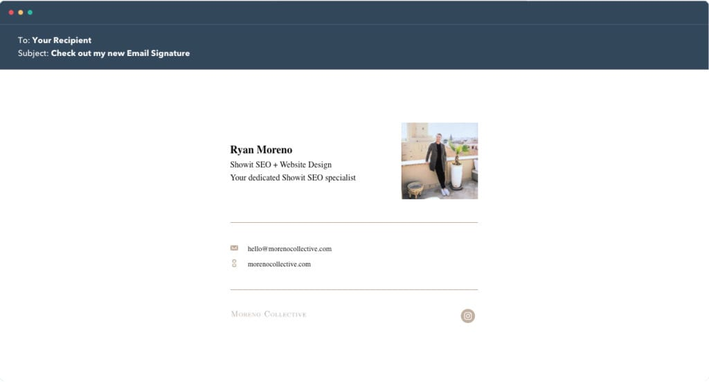Hubspot Email Signature Example 5 - Moreno Collective