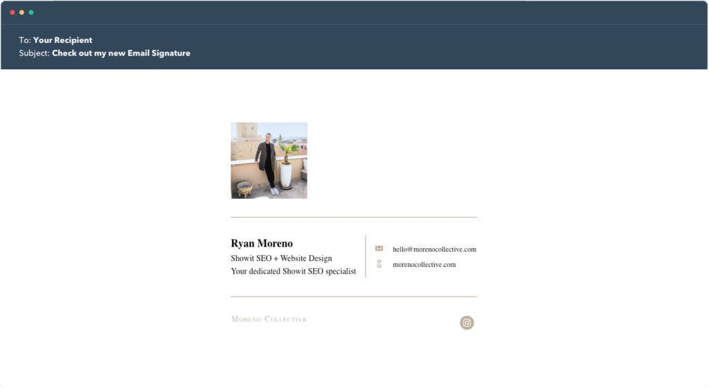 Hubspot Email Signature Example 6 - Moreno Collective