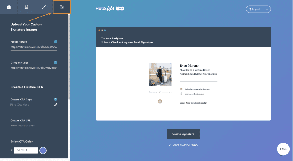 Upload your custom email signature images - Moreno Collective